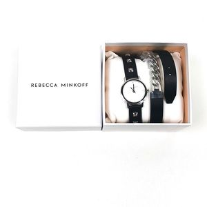 Rebecca Minkoff Studded Leather & Chain Wrap Watch